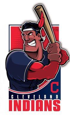 Cleveland Indians - Chief Wahoo at bat. Cleveland Baseball, Cleveland Indians Baseball, Cleveland Rocks, Mlb, Cricket, Sports Team Logos, Sports Teams, Baseball Art, Sports Baby