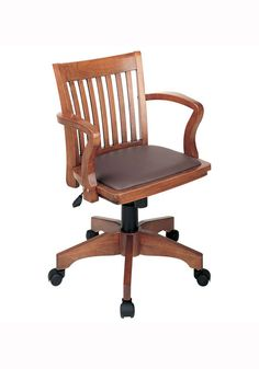 The Deluxe Padded Bankers Chair swivels and has a vinyl padded seat. Find traditional style wooden desk chairs at StacksAndStacks.com.
