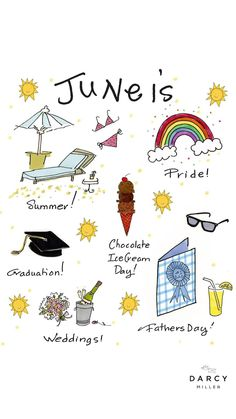 Holidays and things to celebrate in the month of June | Darcy Miller #Calendar #FathersDay #Pride #weddings #graduation #summer #icecream #chocolate #animation #illustration #illustrator #sun #art #animator Graduation Templates, Graduation Diy, Diy Gifts For Dad, Fathers Day Gifts, Grad Parties, Summer Parties, Wedding Anniversary, Anniversary Gifts, Sun Art