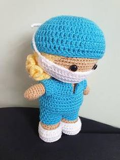 Ravelry: Weebee Doll - Health Care Worker Scrubs pattern by Laura Tegg Crochet Patterns Amigurumi, Crochet Dolls, Crochet Baby, Crochet Unicorn, Knitted Nurse Doll, Nurse Mates, Care Worker, Knit In The Round, Student Gifts