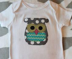 Owl Applique Onesie for 3M