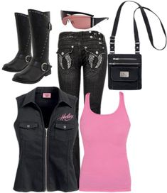 """Harley Pink"" by lkthompson on Polyvore"