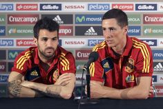 Fernando Torres with teammates. Spain national team.
