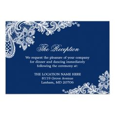 Lace Wedding Reception Navy Blue White Lace Wedding Information Details Card