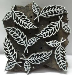 INDIAN WOODEN HAND CARVED TEXTILE FABRIC PRINTING BLOCK / STAMP LEAF PATTERN. Clay Stamps, Hand Embroidery Designs, Embroidery Patterns, Print Patterns, Textile Prints, Textiles, Textile Design, Homemade Stamps, Fabric Stamping