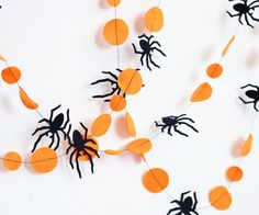 Orange and black Halloween garland, Expedited Shipping, Creepy, Spider garland, Halloween party decorations