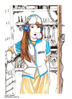 Ilustration Mechanic Girl artwork Drawing pen with Koi Waterbrush