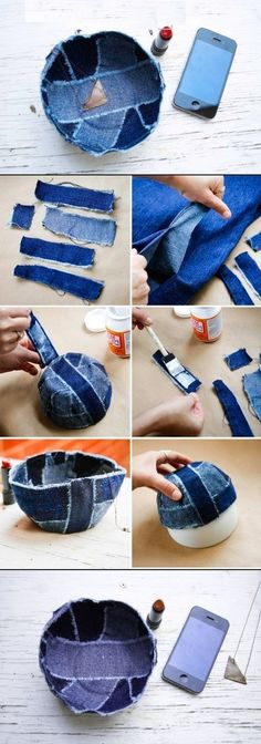 DIY Jean Bowl-Or use any fabric you want. Jean Crafts, Denim Crafts, Diy And Crafts, Arts And Crafts, Diy Projects To Try, Craft Projects, Sewing Projects, Fabric Crafts, Sewing Crafts