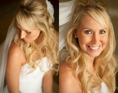 Half up half down wedding hair with soft curls by KyleLynn Weddings! On Location wedding hair and makeup services in Tampa Bay and surrounding areas. Photo by Stephanie A Smith Photography