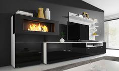 Comfort Relax: Parete soggiorno con biocamino in bioetanolo ...
