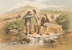 Three men stand by a stream. Two are looking into a gold pan. In the background is a hole with a shovel in it, and a man carrying a hoe. Australian Painting, Australian Artists, Eureka Stockade, Draw Show, Victorian Men, Australian Bush, Canvas Tent, Creature Comforts, Gold Rush