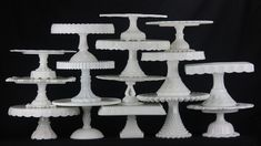 Someone please sent this beautiful milk glass cake stand collection to me!