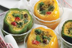 Broccoli quiche in colorful peppers.  A gluten free quiche option?