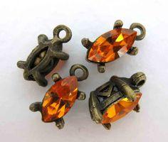Vintage Swarovski Crystal Rhinestone Charm Sun Orange