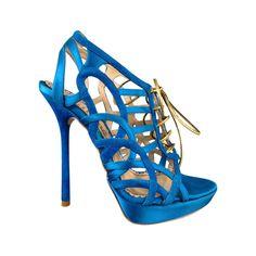 50bdb70ec JOHN GALLIANO 6 Aqua Blue Silk  amp  Suede Platform Gold Lace Up Platform  Sandals