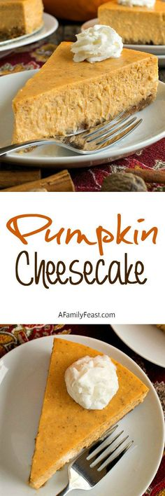 This is a must-make dessert for your family's Thanksgiving! A creamy, delicious and decadent pumpkin cheesecake adapted from a recipe by Paula Deen.
