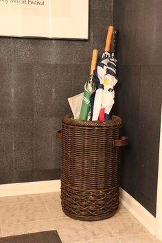 Great way to keep your umbrellas at hand and your entryway neat! Shoe Tray, Umbrellas, Leather Handle, Mudroom, Newspaper, Wicker, Entryway, Basket, Organization