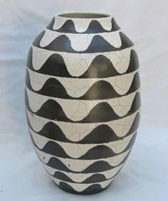 Black n white Raku vase – Terry Ha