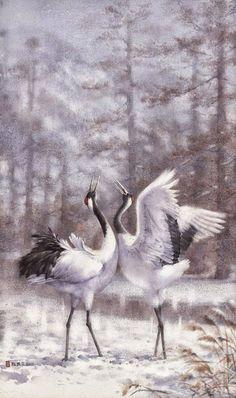 Por amor al arte: Chen-Wen Cheng Chinese Painting, Chinese Art, Watercolor Bird, Watercolor Paintings, Crane Dance, Zen Pictures, Asian Artwork, Art Asiatique, Bird Art