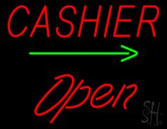 Cashier Open Green Arrow Neon Sign 24 Tall x 31 Wide x 3 Deep, is 100% Handcrafted with Real Glass Tube Neon Sign. !!! Made in USA !!!  Colors on the sign are Red and Green. Cashier Open Green Arrow Neon Sign is high impact, eye catching, real glass tube neon sign. This characteristic glow can attract customers like nothing else, virtually burning your identity into the minds of potential and future customers.
