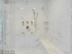 "Contemporary Master Bathroom with Steam showerhead, Pietra Calacatta 2"" x 2"" Porcelain Mosaic Tile in White by MSI"