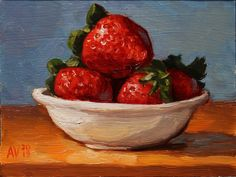 Strawberries still life original oil painting on by AlexboxArt