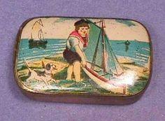 Antique Vintage Cachous Breath Mint Candy Tin miniature BOY BEACH BOAT DOG c1900
