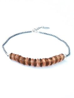 Short Necklaces – Short necklace, brown and salmon pink glass beads – a unique product by PerElle on DaWanda