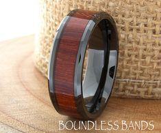 Wood Ceramic Wedding Band Black Wood Wedding by BoundlessBands