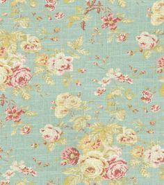 Home Decor Fabric-Waverly Romantic Overtures Rose Sonata Robin's Egg  # 8602773  reg. 44.99  sale 26.99    Background