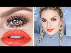 Drugstore Makeup Tutorial! ♡ Fun Orange, Neutrals & Bronze! - YouTube