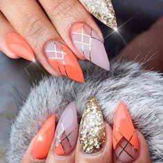12 unique trending nail art designs for 2017 nails ✨ uñas multicolor, uñas estileto Glitter Nail Art, Cute Acrylic Nails, Long Nail Designs, Nail Art Designs, Orange Nail Designs, Nails Design, Design Art, Design Ideas, Hot Nails