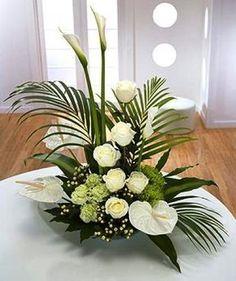 Contemporary Flower Arrangements, Tropical Flower Arrangements, Creative Flower Arrangements, Funeral Flower Arrangements, Beautiful Flower Arrangements, Tropical Flowers, Beautiful Flowers, White Flowers, Cactus Flower
