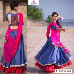 Blue dual tone pure silk bhagalpuri chaniya with pink frills & peacock motif blouse & pink chiffon dupatta. Garba Dress, Navratri Dress, Lehnga Dress, Lehenga Blouse, Indian Designer Outfits, Indian Outfits, Indian Attire, Dandiya Dress, Chanya Choli