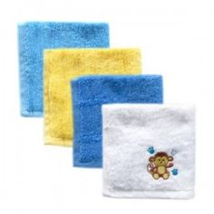 Super Soft Baby WashCloths-Woven Terry-4-Pack (Blue)
