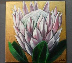 """King Protea"" Acrylic on canvas Protea Art, King Protea, Flower Illustrations, King Art, Small Canvas, Donkeys, Types Of Art, Ikebana, Oil Paintings"