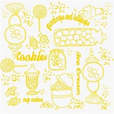 Gum Drops and Lollipops Yellow White Sweetshoppe Toile Cotton Fabric
