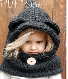 KNITTING PATTERN Burton Bear Cowl 6/9 month 12/18 month | Etsy Knitted Balaclava, Knitted Hats, Crochet Hats, Velvet Acorn, Super Bulky Yarn, 9th Month, 18 Months, Cowl, Knitting Patterns