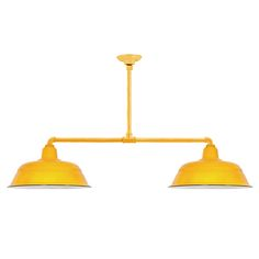 Benjamin® Signal 2-Light Porcelain Stem Mount Pendant, 550-Yellow | Hang Straight Canopy, Mounting in 510-Yellow