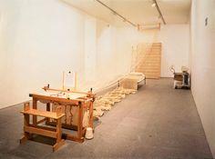 Janine Antoni - 'Slumber', 1993 - Performance with loom, yarn, bed, nightgown, EEG machine and artist's REM reading. Centro de Atre Reina Sofia, Madrid, 1995