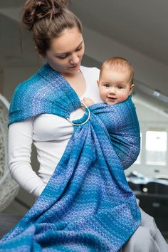 Ringsling, Jacquard Weave (100% cotton), with gathered shoulder - LITTLE LOVE - OCEAN #babywearing