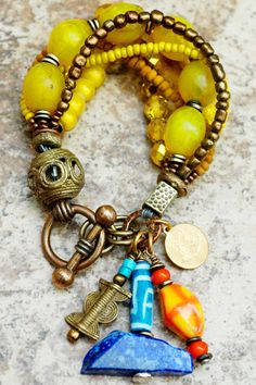 Bracelet   Charm   Yellow   Exotic   Tribal   Unique   XO Gallery   XO Gallery..........ON MY WANTED LIST ( including the similar ones )