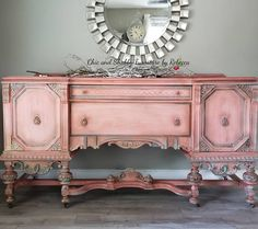 Vintage buffet Available! ❤ Morning light staging is all Cowgirl Coral needed this morning. Message for… Pink Furniture, Refurbished Furniture, Repurposed Furniture, Furniture Projects, Furniture Makeover, Vintage Furniture, Painted Furniture, Buffets Furniture, Redoing Furniture