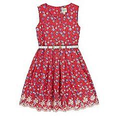 Yumi Girl - Red Polka Dot Floral Print Day Dress