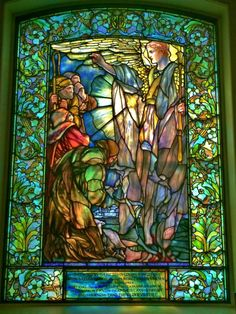 2 The Message of the Angel to the Shepherds — Tiffany Windows Education Center at Arlington Street Church Antique Stained Glass Windows, Stained Glass Church, Stained Glass Angel, Tiffany Stained Glass, Faux Stained Glass, Tiffany Glass, Church Windows, Art Moderne, Mosaic Glass