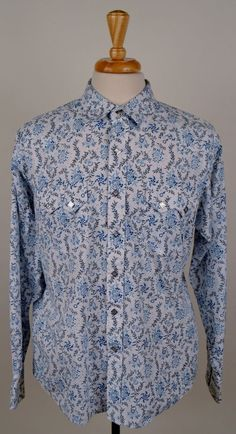 Ariat men long sleeve diamond pearl snap blue white floral print western L shirt #Ariat #Western