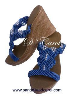 Sandalias macramé Dcarol Azul casual Clave: 009 a $549.00 Knot Braid, Macrame Bag, Amber Necklace, Bespoke Jewellery, Macrame Tutorial, Crochet Shoes, Ciabatta, Huaraches, Gladiator Sandals