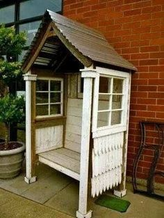 For the trash locker/laundry stairs. Doors that close in the front, obvs, and no corrugated roof  but the siding and the windows? Don't have to have s visual line in. It's just trash locker. But old windows would be so cute on there. Or the mirror from the basement
