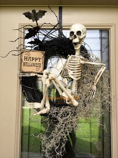 LAST CALL for this Skeleton wreath, happy Halloween wreath, Halloween wreath