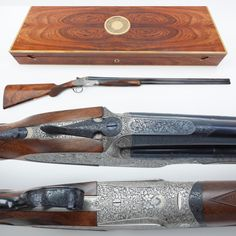 Boss Shotgun - This elegant London-made, over/under Boss 28 gauge is a well-proportioned custom shotgun and the comprehensive English bouquet & scroll engraving pattern wraps neatly around the circumference of the receiver. The wood presentation case for this shotgun is no slouch, either. Boss started making guns in 1816 and to date have only produced about 10,000. Now, that's custom… At the NRA National Firearms Museum in Fairfax, VA.